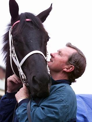Trainer John Hawkes and Lonhro at Crown Lodge, Warwick Farm, in 2000.