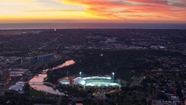 Aerial view of Adelaide Oval at Sunset from a Helicopter - TEST CRICKET 2016 - Australia v South Africa in the Third Test at Adelaide Oval. Picture Matt Turner