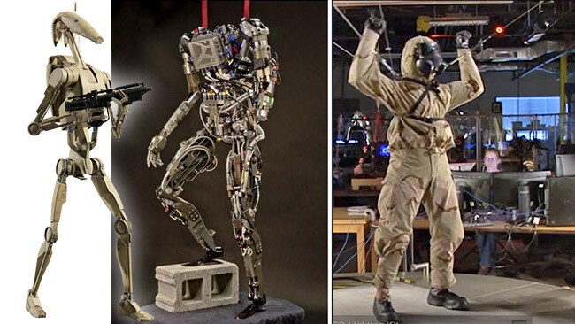Star Wars combat droid, meet PetMAN. This humanoid robot is currently capable of climbing stairs and crossing rough ground. Soon, it may be fighting fires on ships and helping at earthquake sites.