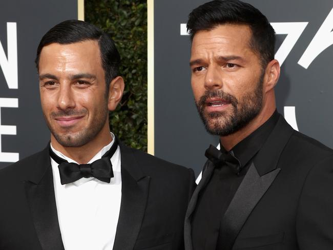 Ricky Martin (R) and Jwan Yosef at the Golden Globes. Picture: Gettytend The 75th Annual Golden Globe Awards at The Beverly Hilton Hotel on January, 2018 in Beverly Hills, California. (Photo by Frederick M. Brown/Getty Images)