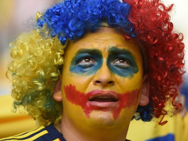 A fan of Colombia looks on during the round of 16 World Cup 2014 match against Uruguay.