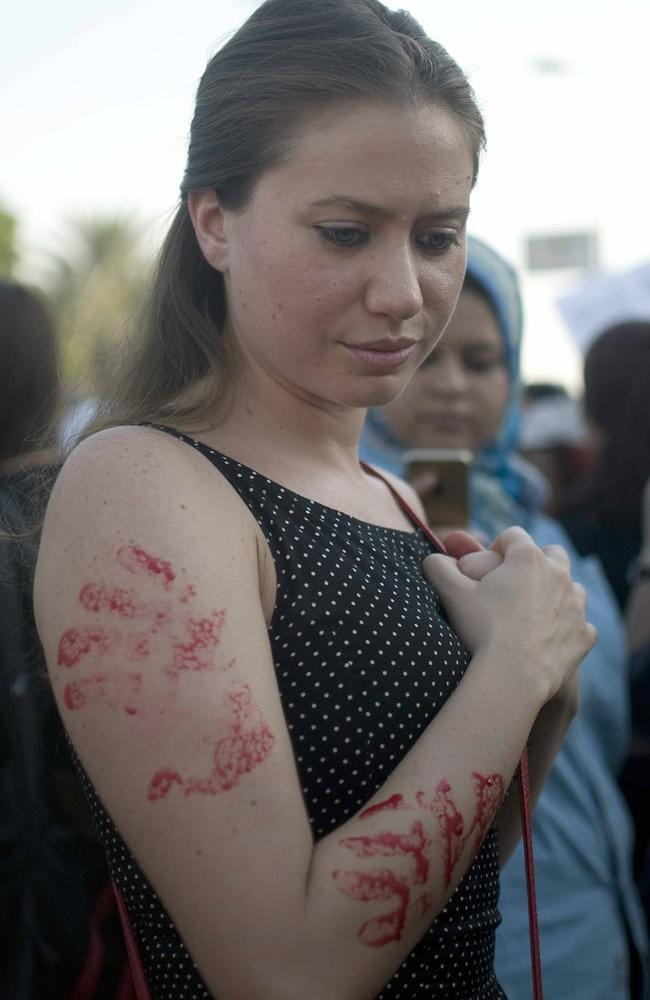 Enough is enough ... an Egyptian woman takes part in a protest against sexual harassment in Cairo.