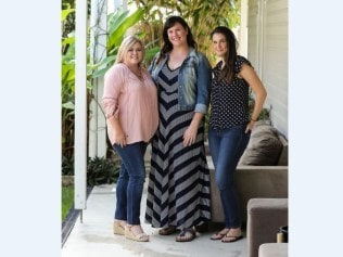 Photo: News Corp. From left: Brisbane women Carren Stapleton, Rebecca Collins and Lauren Leslie met in 2015 as recent widows.