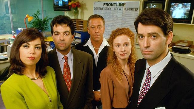 Rob Sitch, Alison Whyte, Steve Bisley, Tiriel Mora and Jane Kennedy in TV show Frontline.