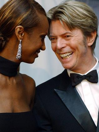 2002 ... Iman, left, and her husband, singer David Bowie in New York. Picture: AP
