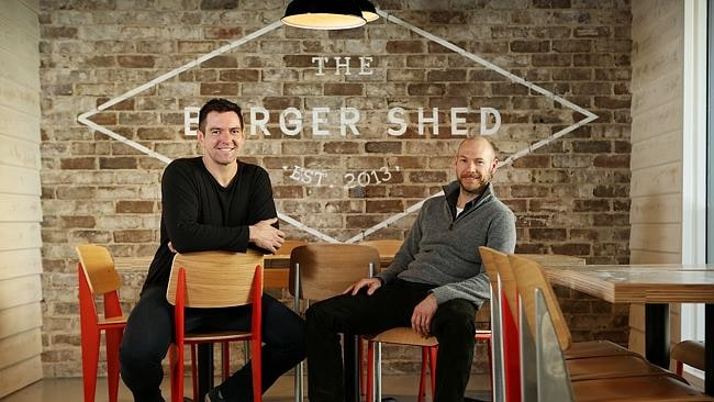 Justin North and his business partner Tim Jolley at their new Mosman eatery The Burger Shed