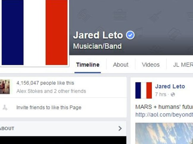 The page of Jared Leto, although not using the Facebook filter, changed the display picture to the French flag. Picture: Facebook/