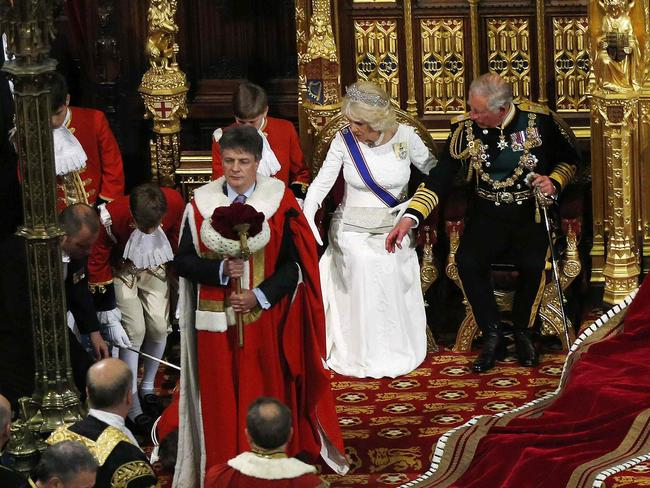 Cause for concern ... Prince Charles and Camilla, Duchess of Cornwall, look towards a page boy who fainted as Queen Elizabeth II delivers her speech during the State Opening of Parliament in the House of Lords. Picture: Suzanne Plunkett