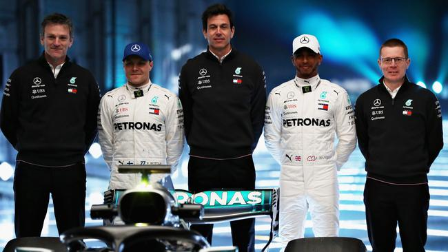 Mercedes' heavy hitters seen here at the launch of the new car.