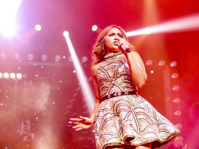 Jessica Mauboy on her All The Hits tour earlier this year.
