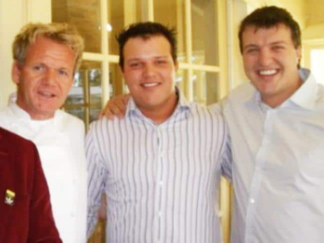 Daniel Milos, right, with brother Peter, who was found bludgeoned to death in 2014, and celebrity chef Gordon Ramsay.