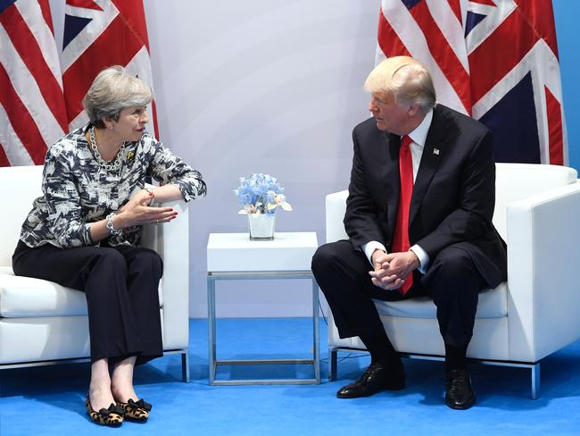 US President Donald Trump and British Prime Minister Theresa May in their last meeting at the G20 Summit in Hamburg, Germany. Picture: AFP