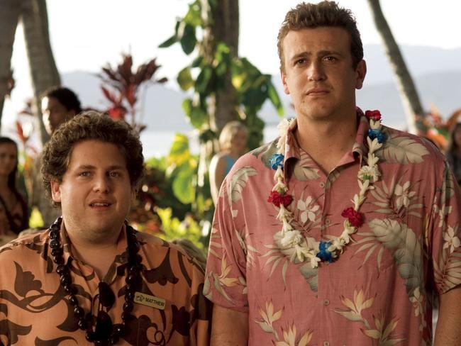 Infamous role ... Jonah Hill and a fully-clothed Segel in  <i>Forgetting Sarah Marshall</i>.