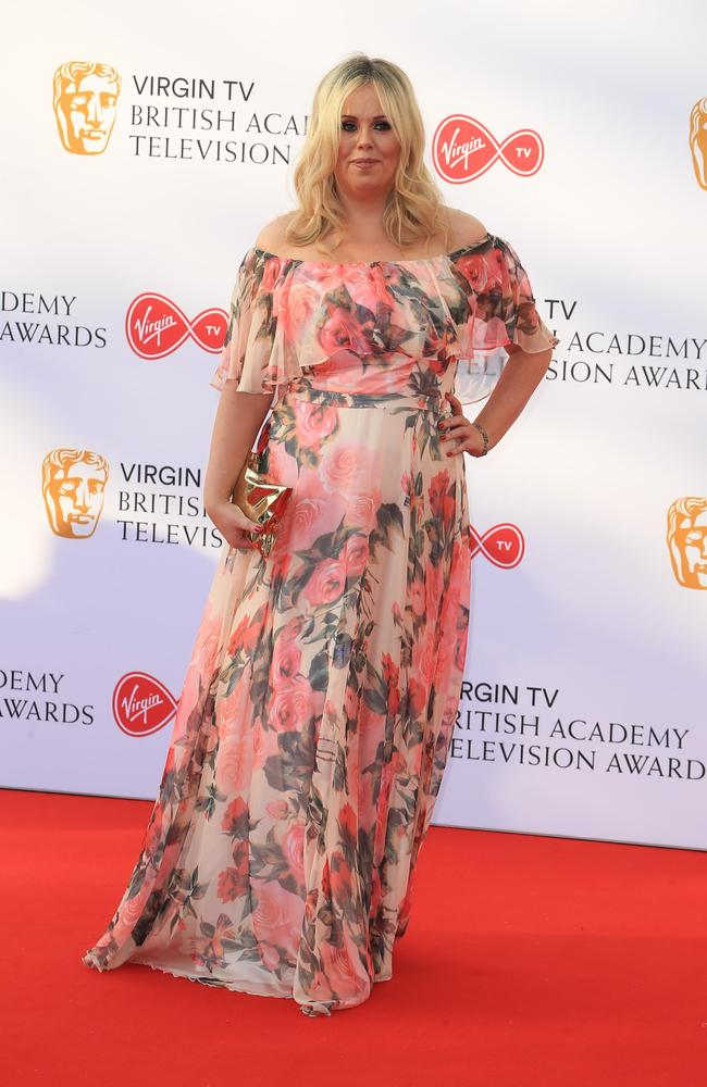 English comedian Roisin Conaty donned a rather dated floral pattern dress. Picture: Fred Duval/MEGA