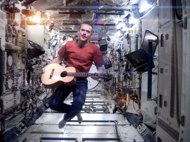 Retired Canadian astronaut Chris Hadfield during his time aboard the International Space Station.