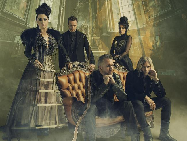 Here's Evanescence looking moody, with singer Amy Lee far left. Picture: Sony Music