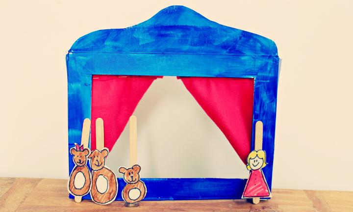 How to make a cereal box puppet theatre