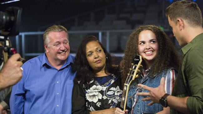 Rachael Thompson with family on  <i>The X Factor</i>