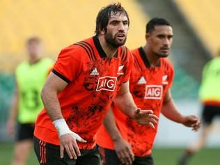 WELLINGTON, NEW ZEALAND - JUNE 29: Samuel Whitelock and Jerome Kaino look on during a New Zealand All Blacks training session at Westpac Stadium on June 29, 2017 in Wellington, New Zealand. (Photo by Hagen Hopkins/Getty Images)