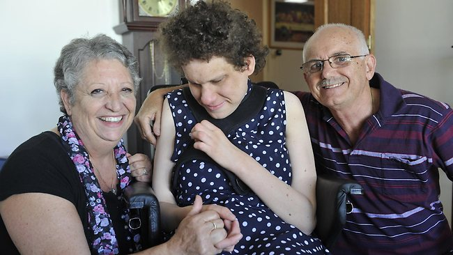 Tony and Carmen Saliba decided to care full-time for their disabled daughter Jessica, 29. Picture: Campbell Brodie