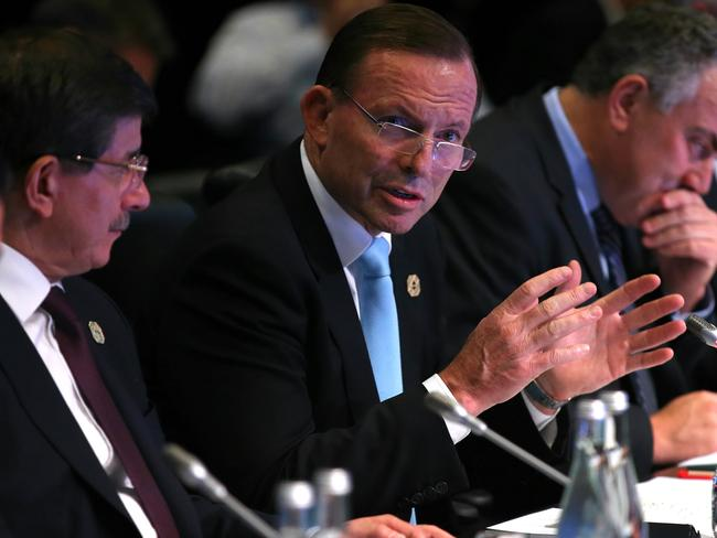 Talking up domestic reforms ... Prime Minister Tony Abbott, flanked by (far left) Mexican President Enrique Pena Nieto and Turkish Prime Minister Ahmet Davutoglu.
