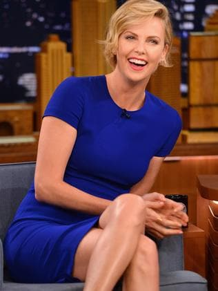 Not funny ... Charlize Theron in a lighter moment on  <i>The Tonight Show Starring Jimmy Fallon </i>earlier in May.