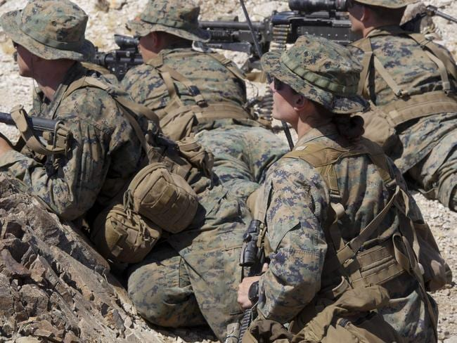 This US Marine Corps in an exercise during the Infantry Officer Course at Marine Corps Air Ground Combat Center Twentynine Palms, California. Picture: AP