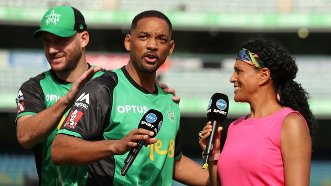 Actor Will Smith is interviewed on the field before the Big Bash League match between the Melbourne Stars and the Sydney Thunder at Melbourne Cricket Ground. (Photo by Mark Metcalfe/Getty Images)