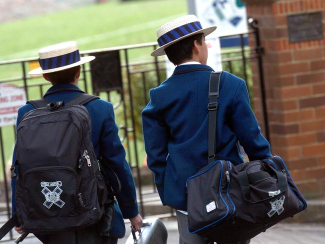 Knox Grammar School students at Wahroonga in Sydney.