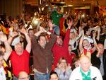 Cheers all round at the German Club as Germany scores in the World Cup final against Argentina. Picture: Simon Cross
