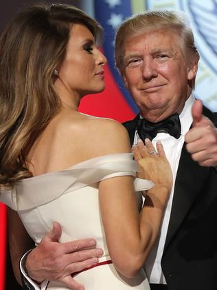 US President Donald Trump and first lady Melania Trump dance during the Freedom Ball at the Washington Convention Centre. Picture: Getty