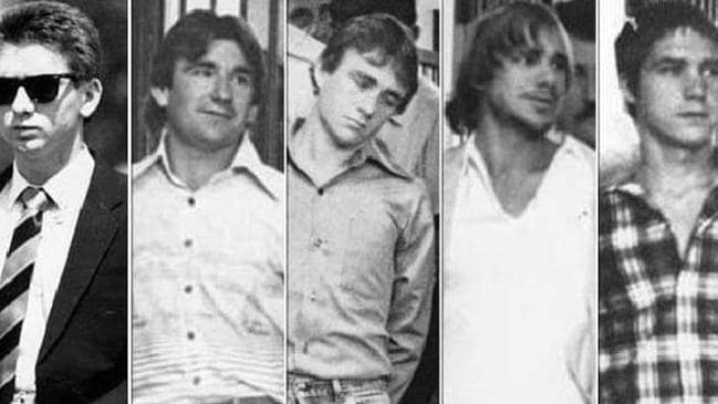 The five criminals convicted over the murder of Anita Cobby in 1986. From left: John Travers, Michael Murphy, Leslie Murphy, Gary Murphy and Michael Murdoch.