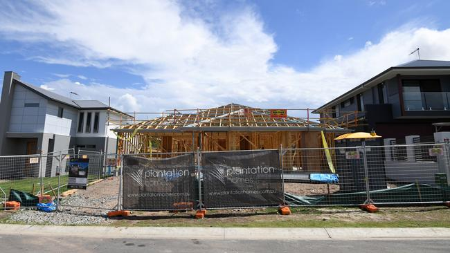 New homes under construction in Mango Hill, north of Brisbane. The latest ANZ/Property Council Survey shows a drop in confidence in the Queensland property industry. Image: AAP/Dan Peled. Source: AAP