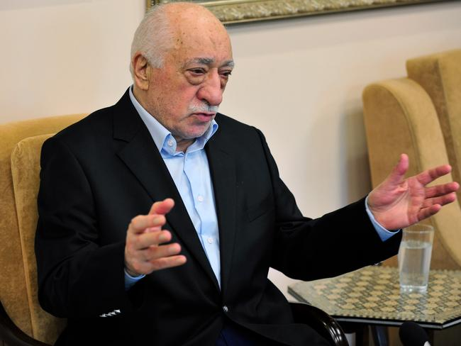 Islamic cleric Fethullah Gulen speaks to members of the media at his US compound on Sunday. Picture: Chris Post