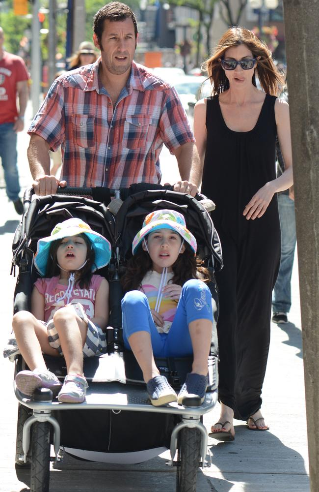 Adam Sandler with his wife Jackie and kids Sunny Madeline Sandler and Sadie Madison Sandler.