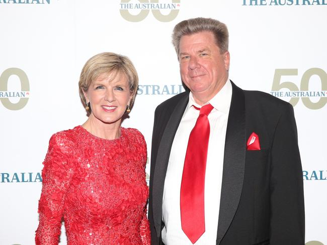 Red all over .... Foreign Minister Julie Bishop and The Australian's editor in chief, Chris Mitchell. Picture Craig Greenhill
