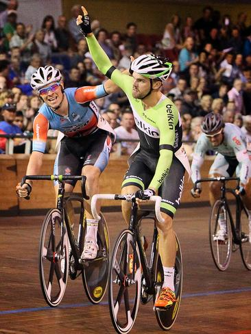 Jack Bobridge wins the 2013 Launceston wheelrace ahead of Alex Edmondson (left) and Tyler Spurrell (third).