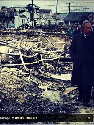 New York Mayor Michael Bloomberg surveys the damage caused by Sandy at Breezy Point in Queens. Picture: Instagram/ supplied by New York City Mayor's office