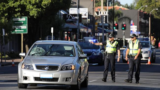 Police at the scene of the incident at St Peters. AAP Image/Dean Martin
