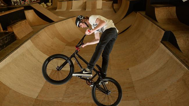 Dylan Leahy shows his style at Rampfest Indoor Skate Park.