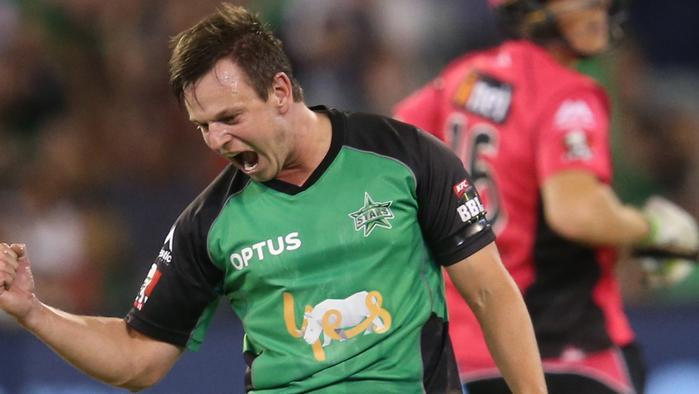 Stars bowler Evan Gulbis celebrates after getting Daniel Hughes for the Sixers out during the BBL T20 match between the Melbourne Stars and and the Sydney Sixers at the Melbourne Cricket Ground, Saturday, Jan. 21, 2017. (AAP Image/David Crosling) NO ARCHIVING, EDITORIAL USE ONLY, IMAGES TO BE USED FOR NEWS REPORTING PURPOSES ONLY, NO COMMERCIAL USE WHATSOEVER, NO USE IN BOOKS WITHOUT PRIOR WRITTEN CONSENT FROM AAP