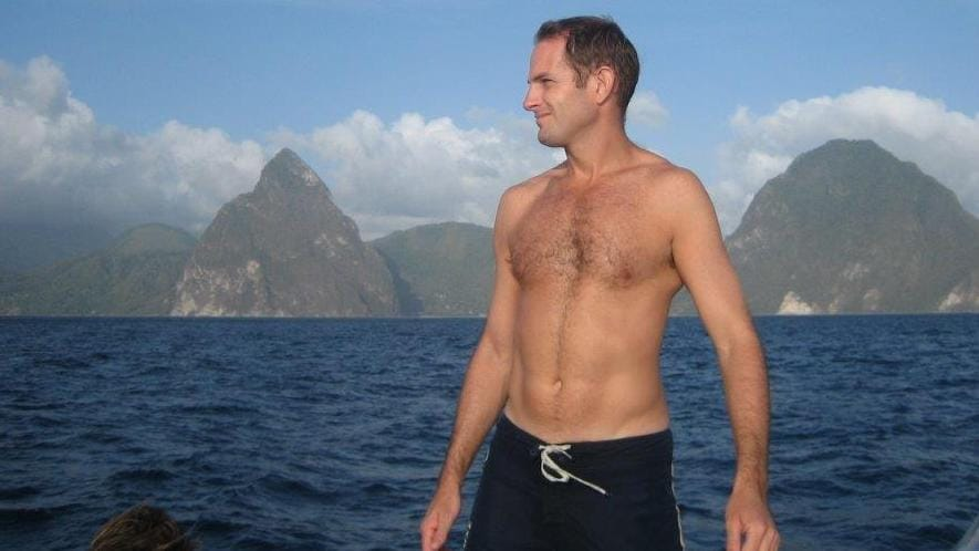 Oliver Gobat pictured off the coast of St Lucia before his murder. Picture: Supplied by his family
