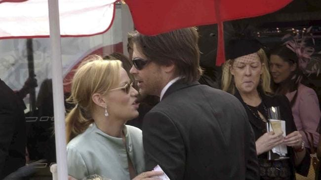Playing tourist... American actors Samantha Mathis and Rob Lowe at Ladies Day at Randwick Racecourse during the Autumn Carnival 2003 in Sydney. Picture: Getty