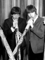 File Pix Beatles Australian tour 1964 (This pic may be Sydney) - (l-R) ringo Starr, Paul McCartney, John Lennon and George Harrison playing didgeridoos - music bands groups didgeridoo Picture: File Photo
