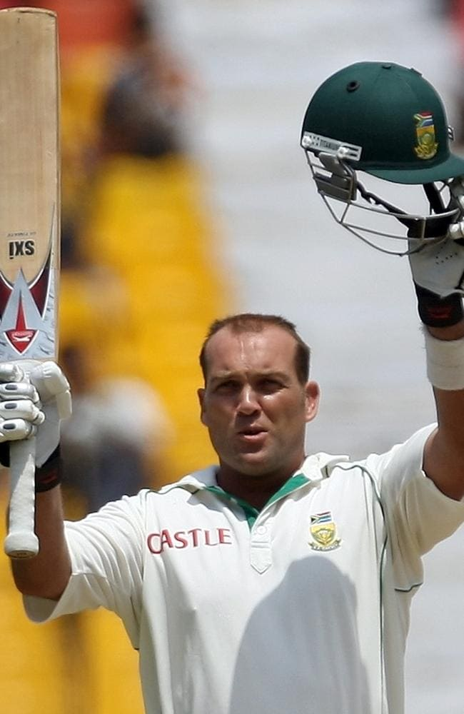 South African cricketer Jacques Kallis reacts after scoring a century.