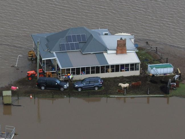 A house in Maitland isolated by flood waters. Pic: Adam Taylor