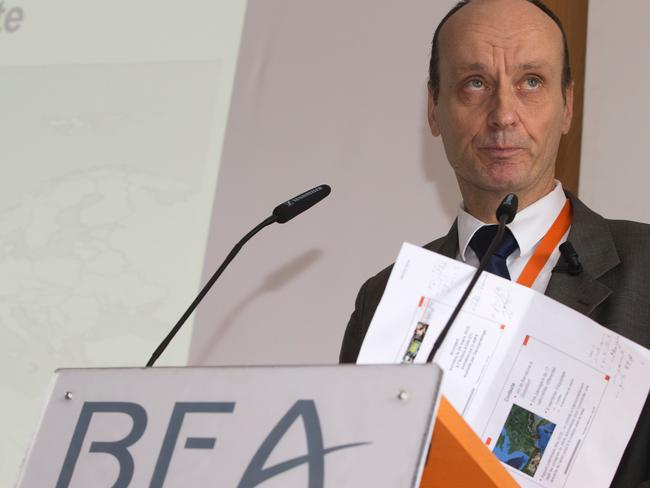 Germanwings investigation ... France's Bureau of Investigation and Analysis for the Security of Civil Aviation director Remy Jouty delivers the findings. Picture: AFP/Joel Saget