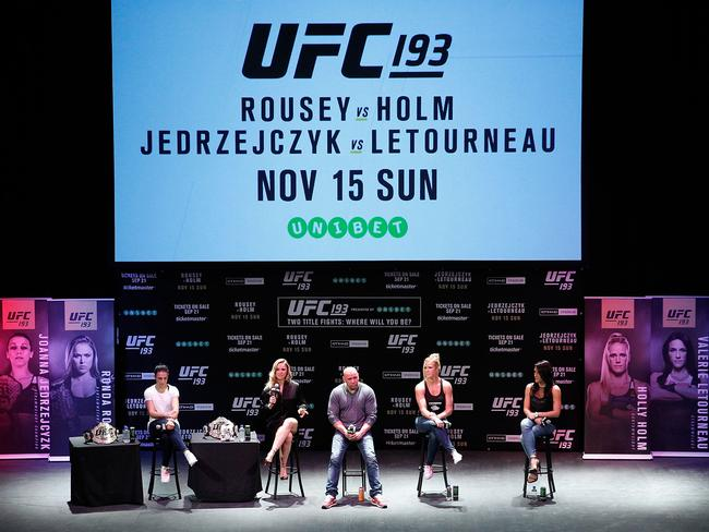 Joanna Jedrzejczyk, Ronda Rousey, Dana White, Holly Holm and Valerie Letourneau at a UFC 193 promotional event at Sydney's State Theatre.