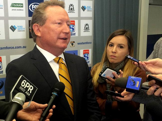 Andrew Forrest is pushing forward with a rugby competition of his own. Picture: AAP
