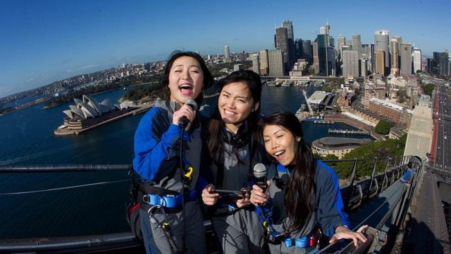 Karaoke climb ... Bridgeclimb Sydney is adding a karaoke machine to the Harbour Bridge for Chinese New Year. Pic: Geoff Jones